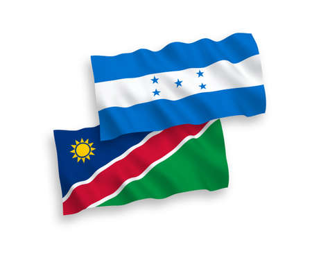 Flags of Republic of Namibia and Honduras on a white background Vector Illustratie