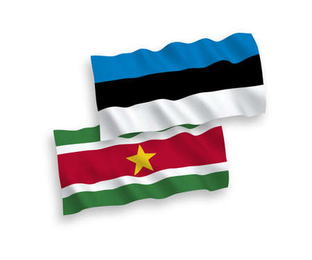 National vector fabric wave flags of Estonia and Republic of Suriname isolated on white background. 1 to 2 proportion.