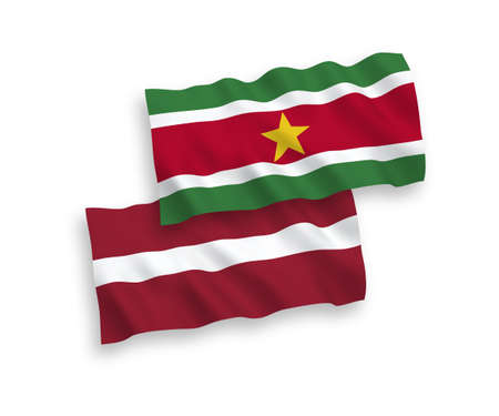 National vector fabric wave flags of Latvia and Republic of Suriname isolated on white background. 1 to 2 proportion.
