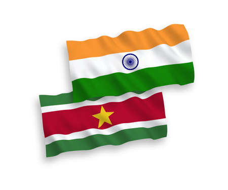 National vector fabric wave flags of India and Republic of Suriname isolated on white background. 1 to 2 proportion.