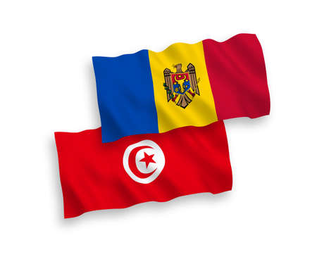 National vector fabric wave flags of Republic of Tunisia and Moldova isolated on white background. 1 to 2 proportion.