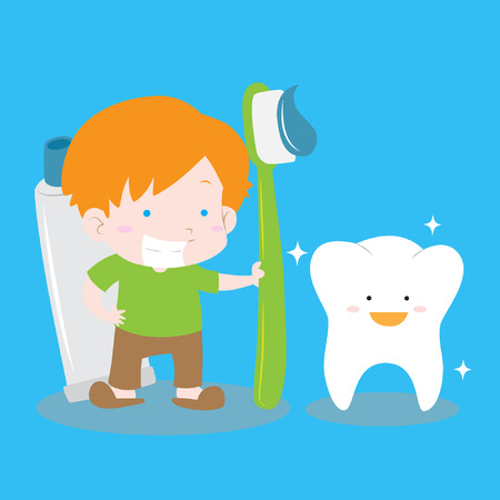 Happy Boy cleaning tooth with big tooth brush and tooth paste isolated vector stock for educational and background purpose