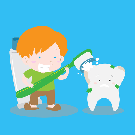 Boy brushing dirty tooth with big tooth brush and tooth paste cute isolated vector stock for educational purpose Illustration
