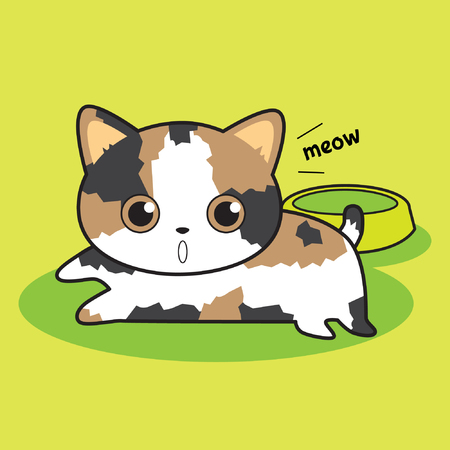 food plate: Cute cat waiting for food with empty plate vector stock