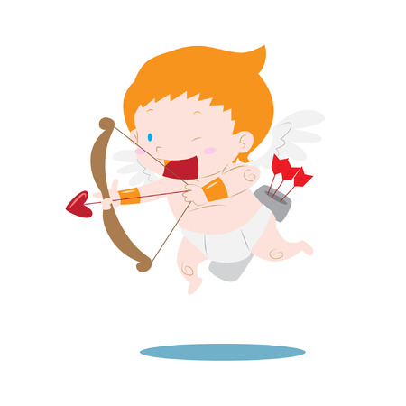Cute cupid aiming love arrow vector illustration, can be used for valentine themed cards