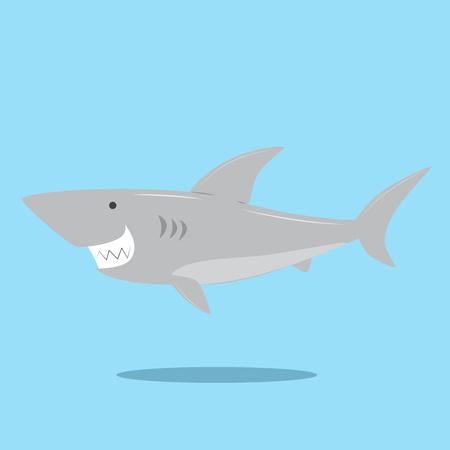 vector illustration of a cute shark smiling