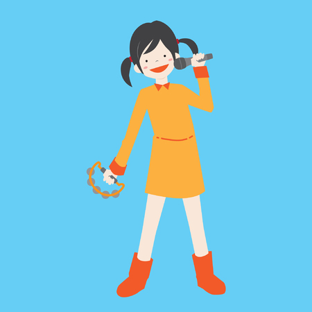 Girl singing karaoke with tambourine vector stock Illustration