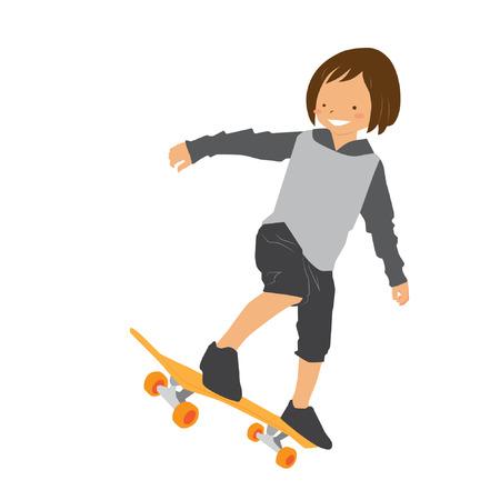 Skater girl with her skateboard vector stock