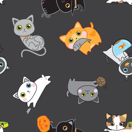 grey cat: Cute kitten pose seamless pattern background vector stock in black Illustration