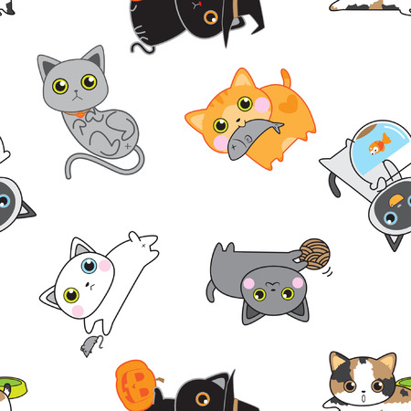 grey cat: Cute kitten pose seamless pattern background vector stock in white Illustration