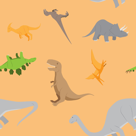 Cute dinosaurs seamless pattern background vector stock Illustration