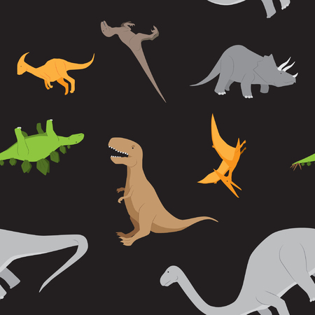pterodactyl: Dinosaurs seamless pattern background vector stock in black