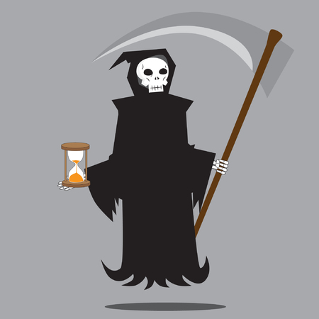 guadaña: Angel of Death holding scythe and sand timer vector illustration