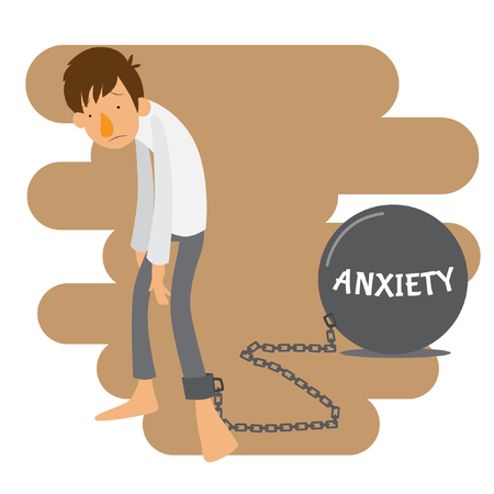 Man chained with anxiety problem vector stock Illustration