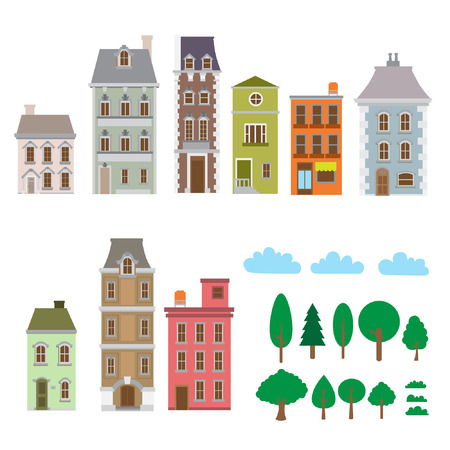 houses, building, trees, vector set