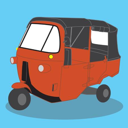 wheeled: Three wheeled Classic public transportation in Jakarta vector stock