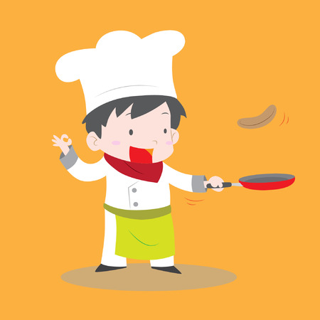 Cute chef boy flipping pancake in fry pan vector stock