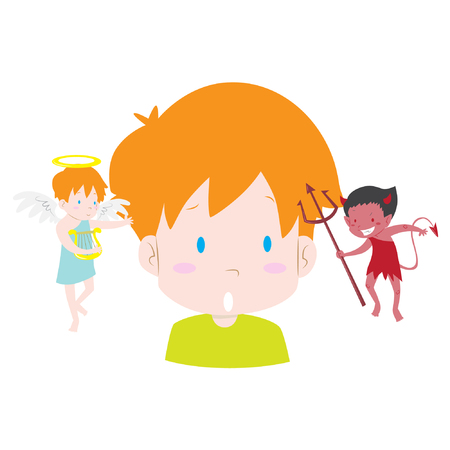 good and evil: Thinking kid making tough choice between good and evil. Angel and devil advising him cute vector illustration