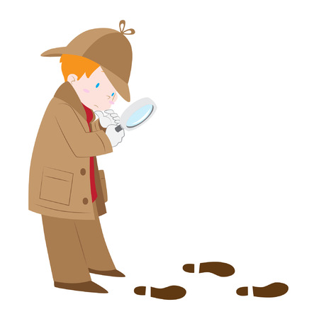 clues: Vector illustration of detective boy wearing sherlock hat with magnifying glass following footprints and clues isolated white background. Illustration