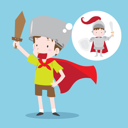 Young boy imagining become knight in shining armor. Boy with green T-shirt and brown shorts and red cloak holding wooden sword in flat design isolated on blue background. Vector illustration. Illustration