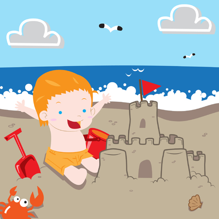 shove: Boy making sand castle in the beach with happy expression vector stock