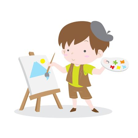 Cute artist kid painting scenery in canvas vector stock Illustration