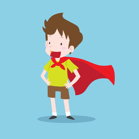 Young boy in super hero pose wearing a red cloak. Boy with green T-shirt and brown shorts and red cloak. Smiling boy personage in flat design isolated on blue background. Cute vector illustration.