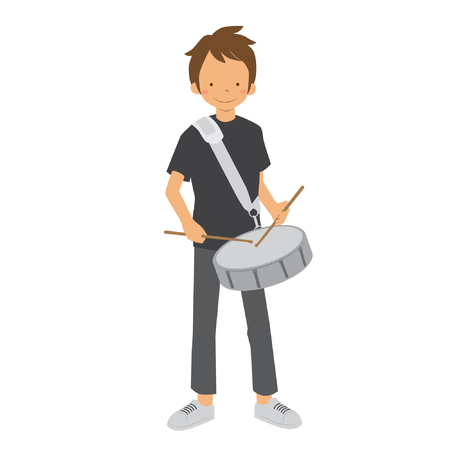 Boy playing drum in marching band vector stock