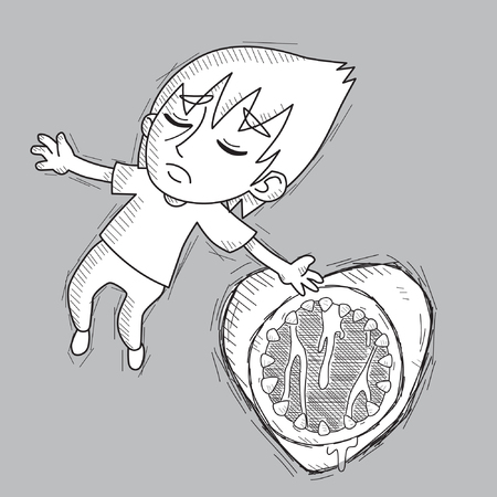 emo: Emo boy falling in love in the shape of monster vector stock card, sticker