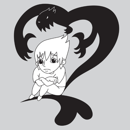 emo: Black and White Sad Emo boy haunted by his feeling with heart shape shadow vector stock