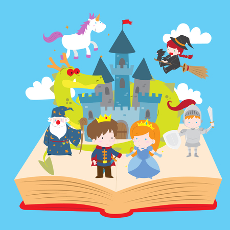 Cartoon vector illustration of cute magical fairy tale kingdom story book. Prince, princess, castle, wizard, knight, witch, unicorn and dragon coming up from the book.