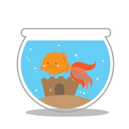 gold fish bowl: Cute goldfish on an aquarium bowl vector illustration Illustration