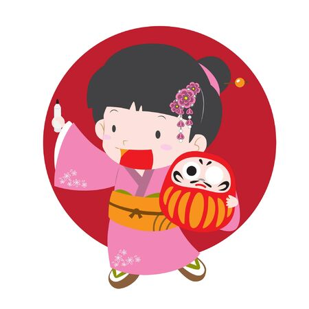 granting: Cute vector illustration of a girl in kimono (japanese traditional cloth) holding daruma doll (japanese talisman for granting wish) that can be used for new year greeting card or post card