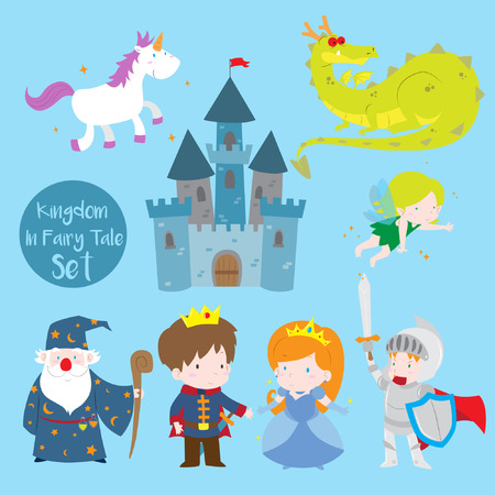 Cartoon vector illustration of cute prince, princess, and knight theme set. Included in this set: unicorn,dragon,castle,sorcerer, knight in shining armor, prince and princess.
