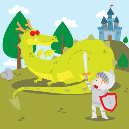 Vector cartoon illustration of a knight in shining armor facing dragon with castle as the background as found in fairy tale