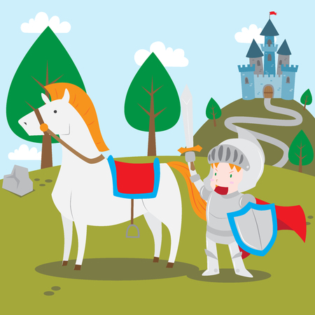 Vector cartoon illustration of a knight in shining armor holding sword and shield with his horse outside the castle Illustration