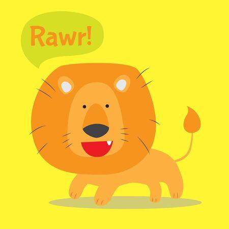 Cute lion roaring vector stock