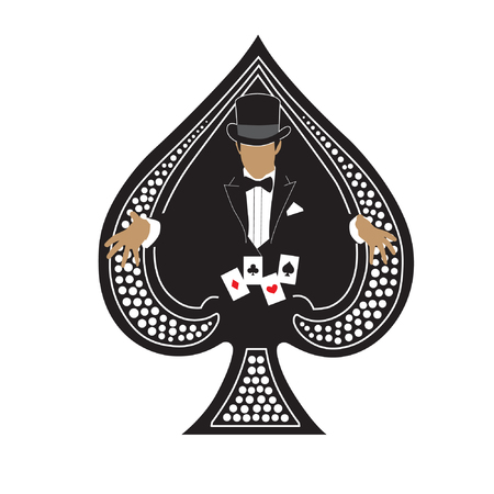 gimmick: Magician playing cards in ace spades vector