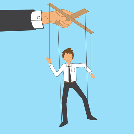 Employee become Marionette in the office vector stock