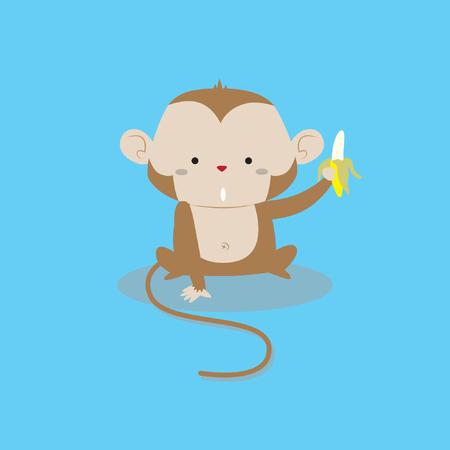 Cute little monkey holding banana vector stock Illustration