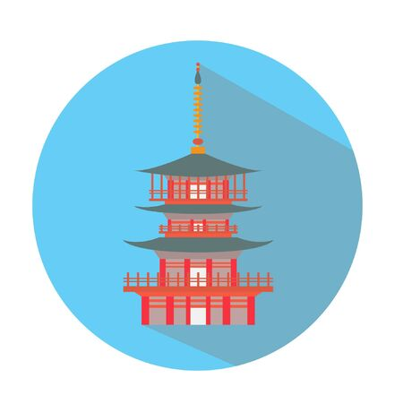shrine: Japanese or chinese shrine pagoda icon vector stock Illustration