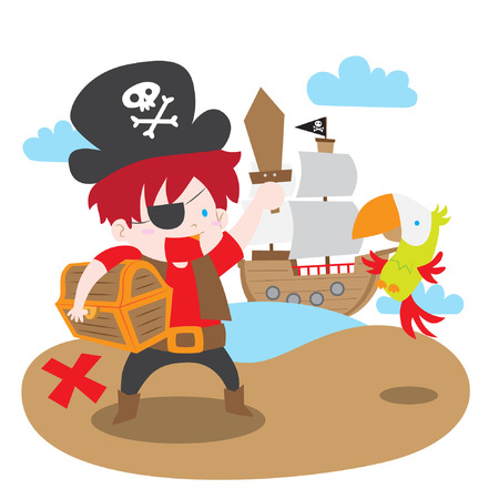 A cartoon vector illustration of a cute pirate boy complete with parrot, pirate ship, and treasure chest Illustration