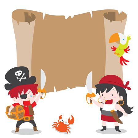 A vector cartoon illustration of a pirate boy and girl with treasure chest and parrot for pirates party theme blank copyspace in treasure map. Ideal for party invitations, kid poster and more. Illustration