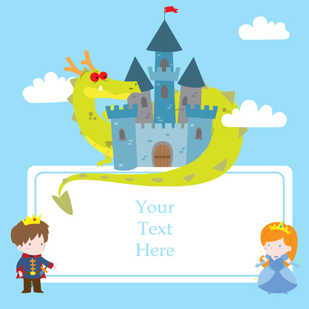Cute cartoon vector illustration of princess in fairy tale theme with copy space. Prince and princess with dragon in the castle. For kids party invitations or theme events. Illustration