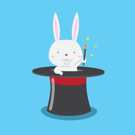 Cute rabbit coming out from magician hat with magic wand vector stock illustration