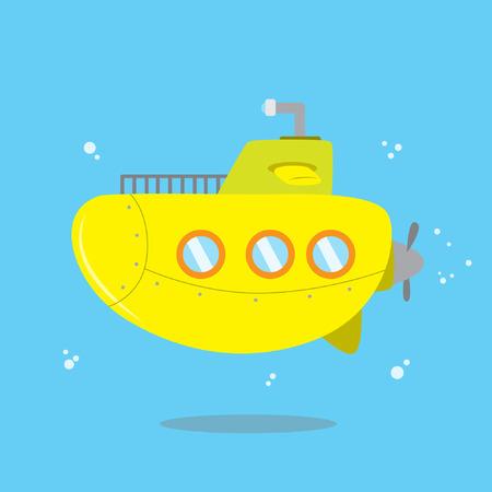 sub: Cute yellow submarine vector illustration Illustration
