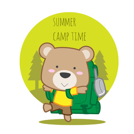 Cute teddy bear going to camp with big backpacker bag vector illustration Illustration