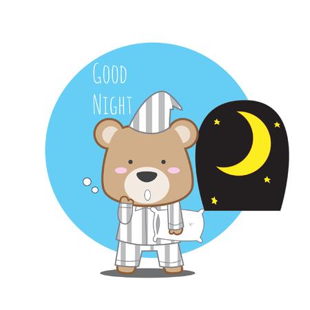 Nounours mignon en pyjama avec stock de vecteur texte bonne nuit