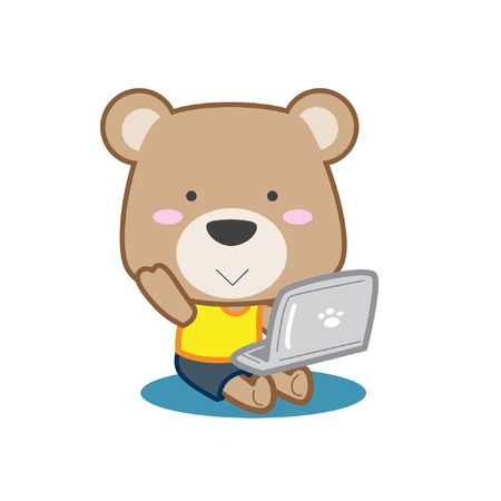 Cute teddy bear holding laptop computer vector stock