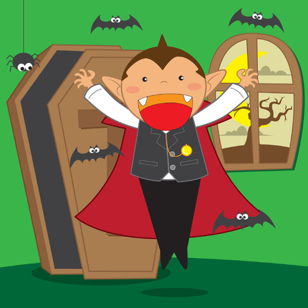 Cute Vampire with bats coming out from coffin vector stock